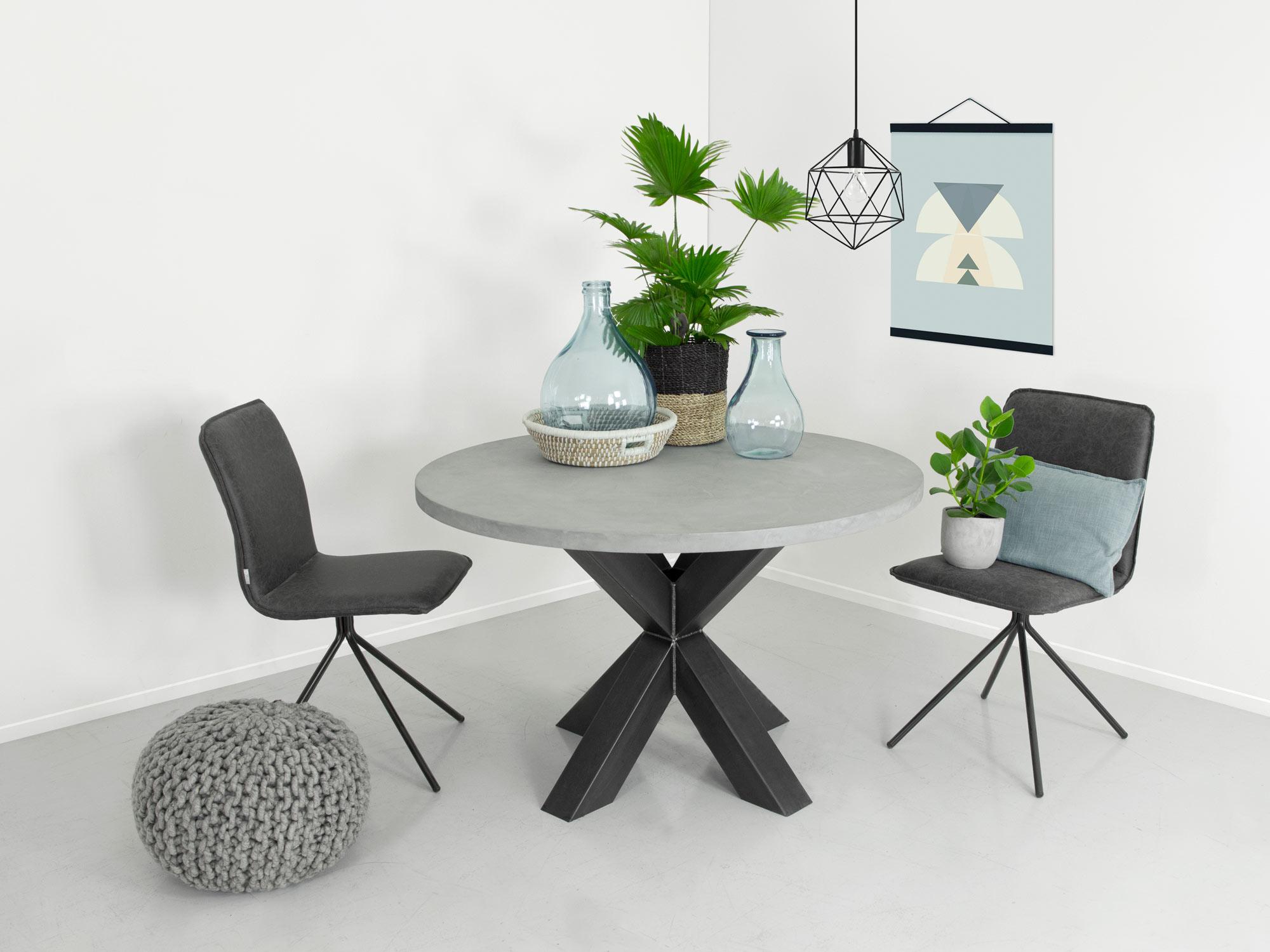 Ronde eettafel betonlook ozzy fØrn maatwerk meubelen
