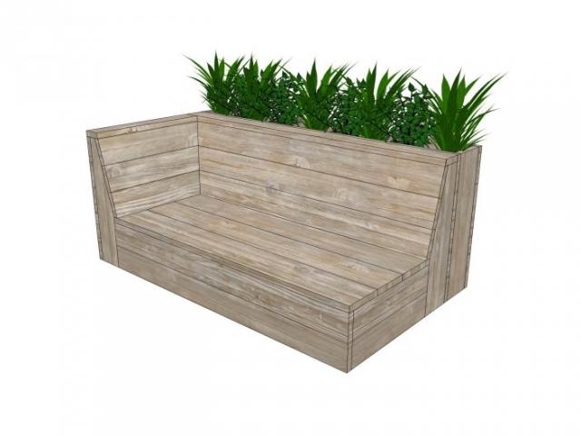 Bank met plantenbak