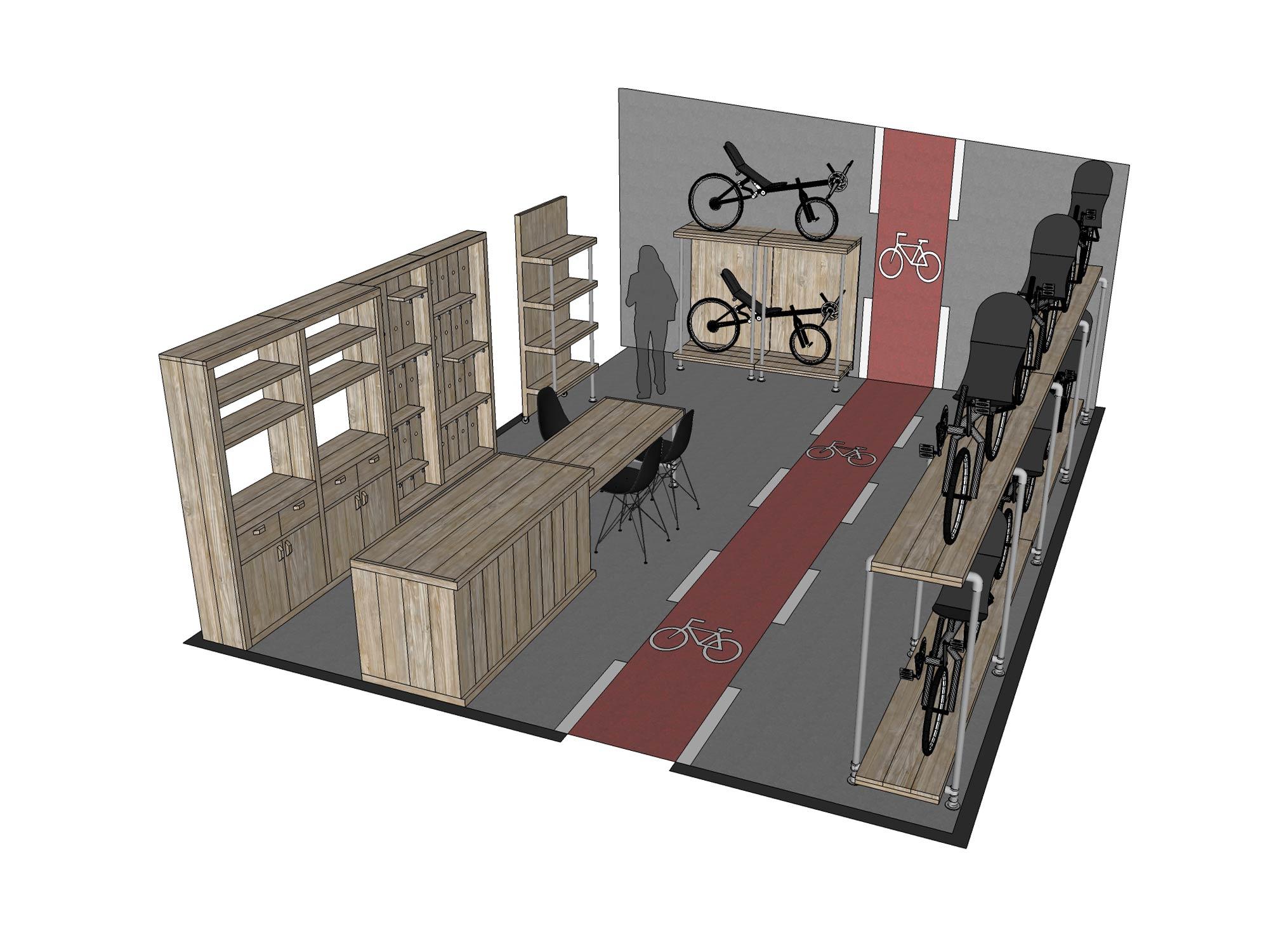 Inrichting fietsenwinkel Maia